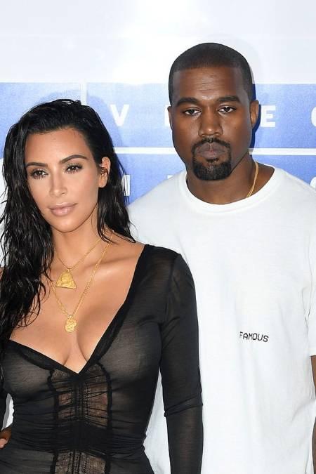 Kanye West with wife Kim Kardashian