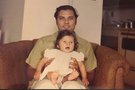 Lisa Ray with Father L.K.Dutta