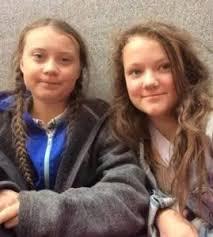 Beata Ernman Thunberg with sister Greta Thunberg