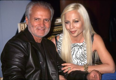 Young Donatella Versace with brother Gianni Versace