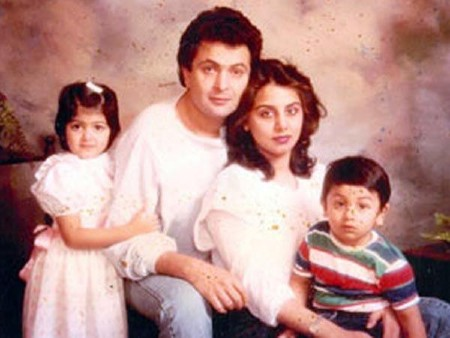 Ranbir Kapoor with his parents childhood pic