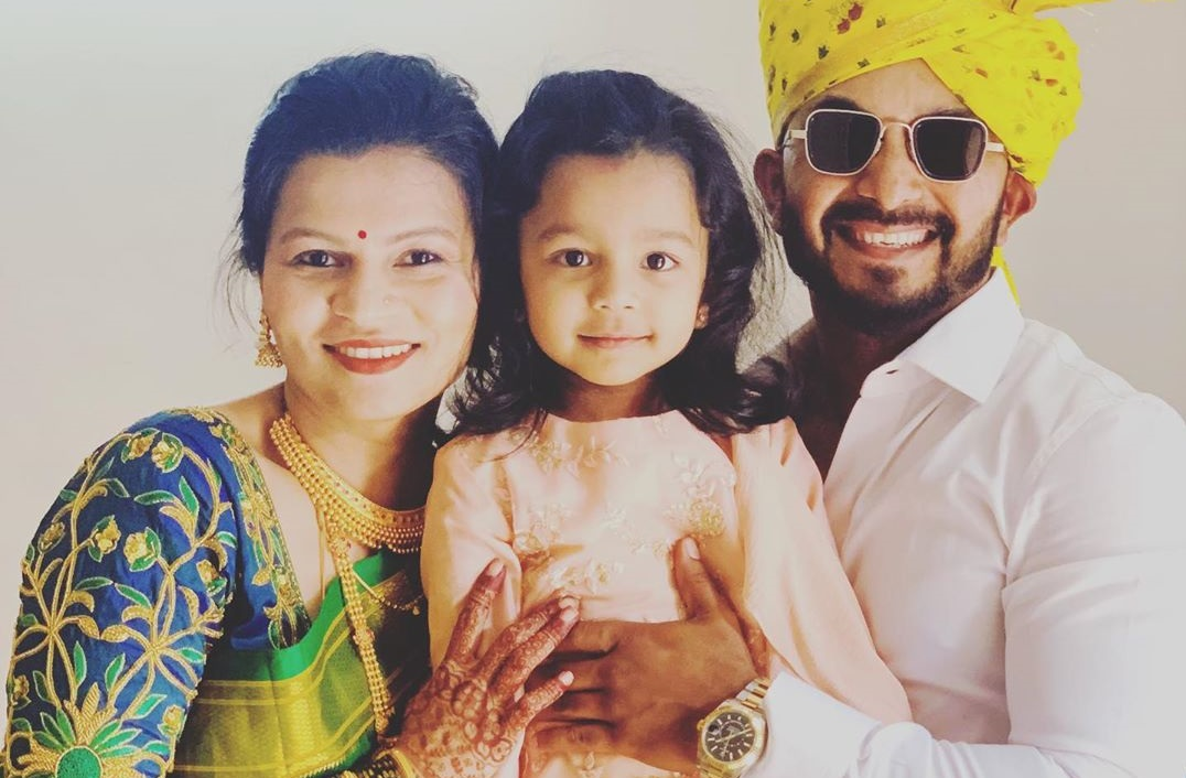 Kedar Jhadav with Wife and Daughter