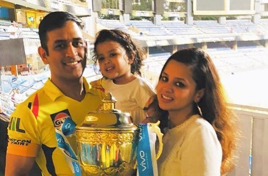 Ms Dhoni with Wife and Child