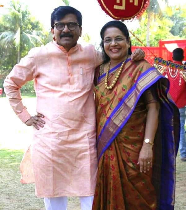 Sanjay Raut with his wife Varsha Raut