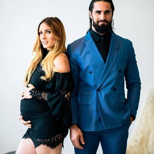 Seth Rollins with his Pragnent wife WWE wrestler Becky Lynch